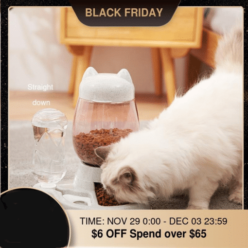 2.2L Pet Dog Cat Automatic Feeder Bowl for Dogs Drinking Water 528ml Bottle